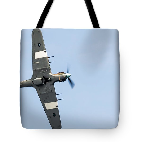 Tote Bag featuring the photograph Hurricane From Below Sunderland Air Show 2014 by Scott Lyons