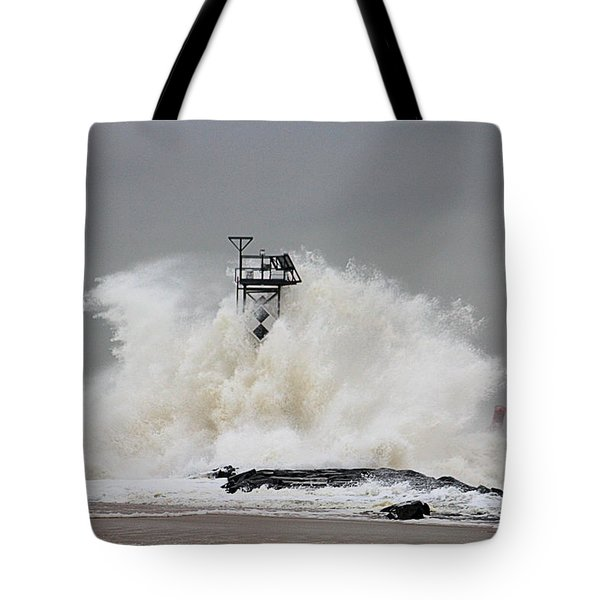 Hurricane Jose Wave At The Inlet Jetty Tote Bag