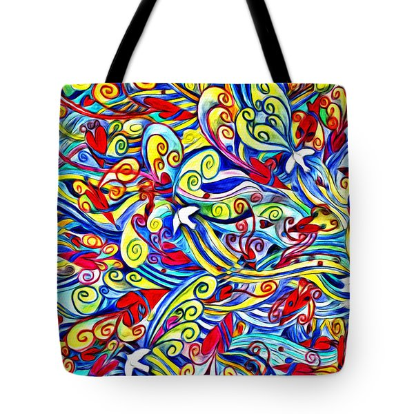 Hurricane Of Doves And Hearts Tote Bag