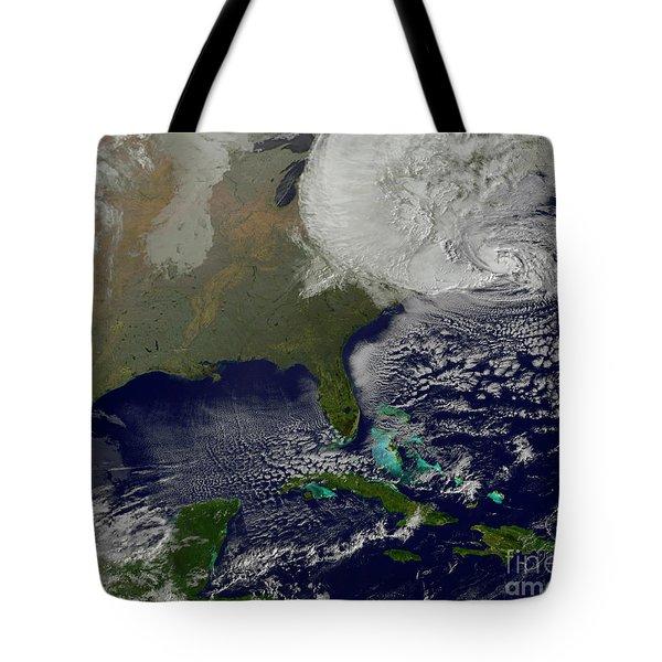Hurricane Sandy Battering The United Tote Bag by Stocktrek Images