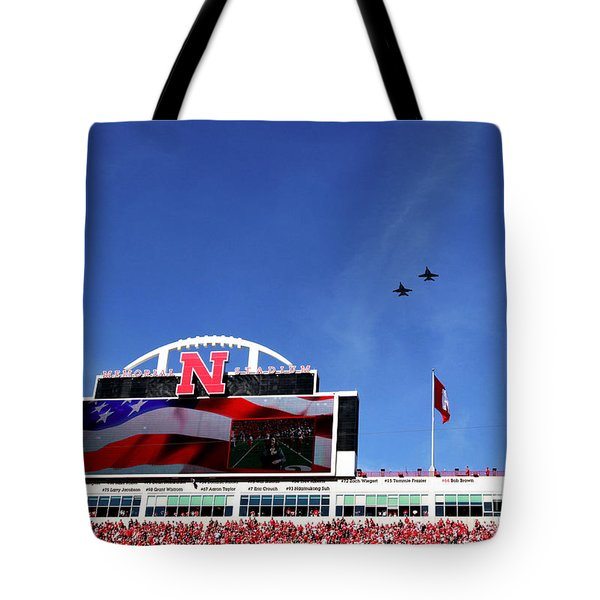 Husker Memorial Stadium Air Force Fly Over Tote Bag