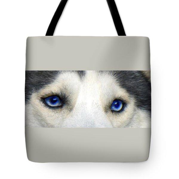 Husky Eyes Tote Bag by Jane Schnetlage