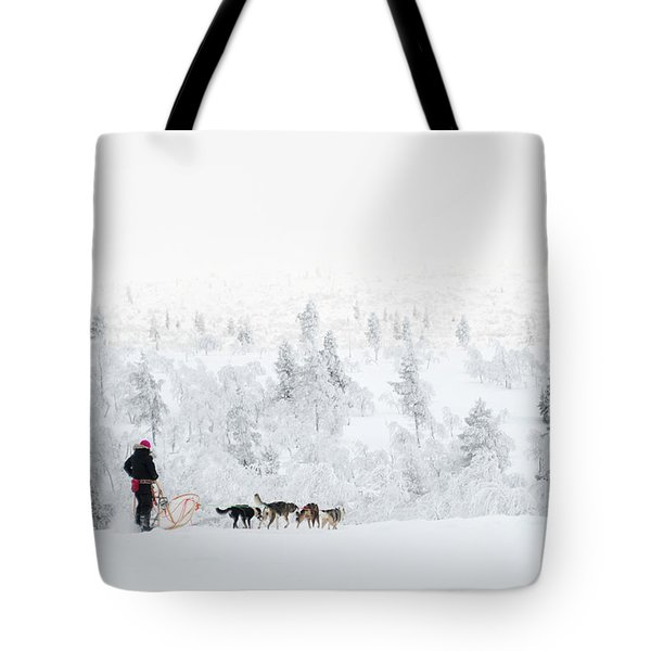 Tote Bag featuring the photograph Husky Safari by Delphimages Photo Creations