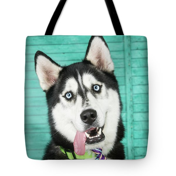 Husky With Tie Tote Bag