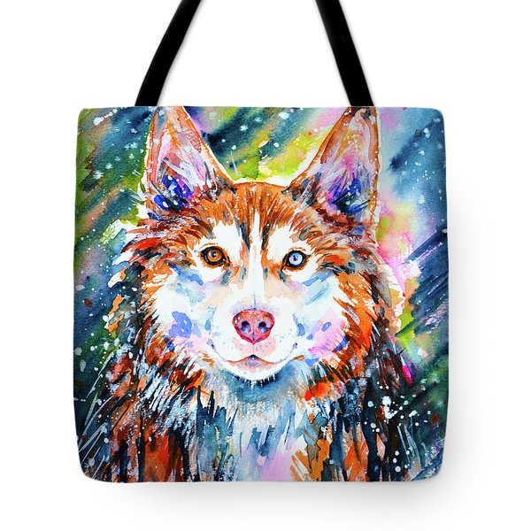 Tote Bag featuring the painting Husky by Zaira Dzhaubaeva