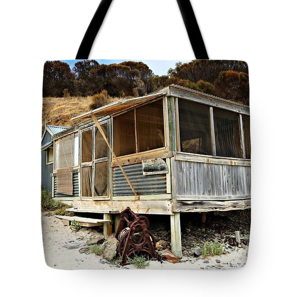 Tote Bag featuring the photograph Hut At Western River Cove by Stephen Mitchell