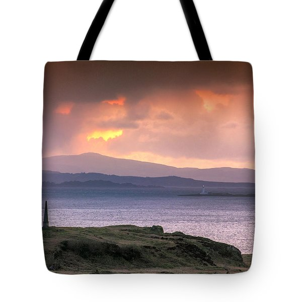 Hutcheson's Monument On The Isle Of Kerrera At Sunset Tote Bag