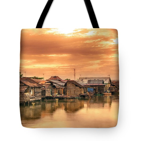 Tote Bag featuring the photograph Huts On Water by Charuhas Images