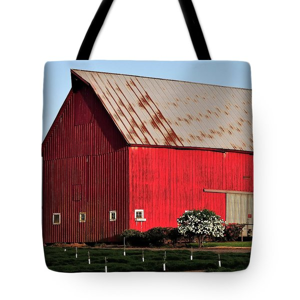 Hwy 47 Red Barn 21x21 Tote Bag