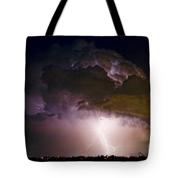 Hwy 52 - 08-15-2010 Lightning Storm Image 42 Tote Bag by James BO  Insogna