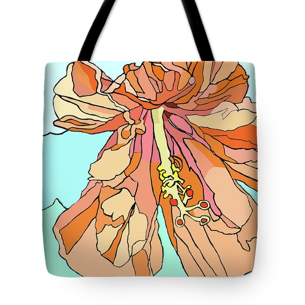 Hybiscus And Blue Tote Bag by Jamie Downs