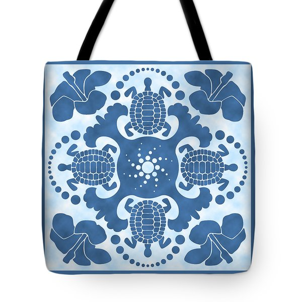 Hybiscus And Turtle Hawaiian Quilt Block Tote Bag