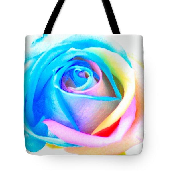 Rainbow Rose Tote Bag