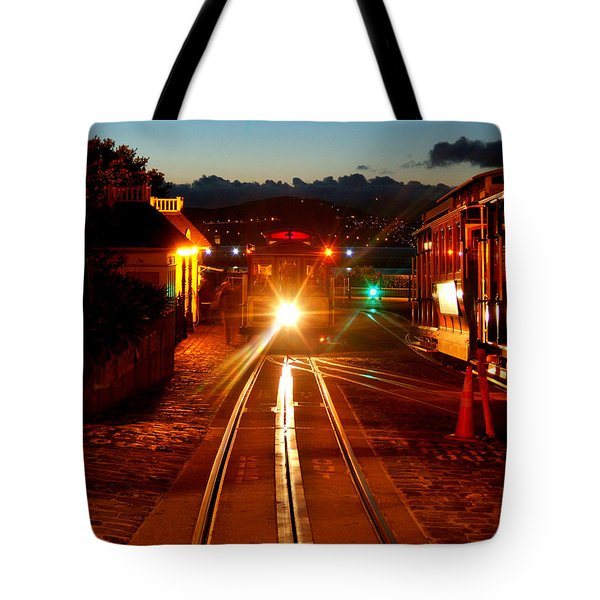 Hyde Street Cable Car Twilight Tote Bag by Wernher Krutein