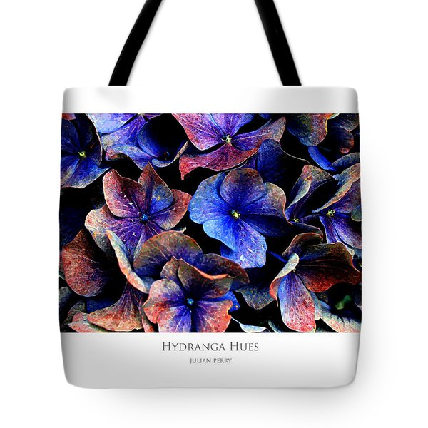 Tote Bag featuring the digital art Hydranga Hues by Julian Perry