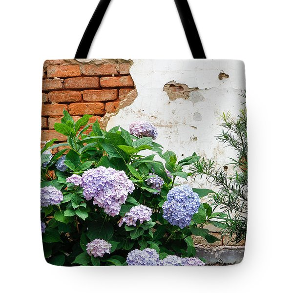 Hydrangea And Bricks Tote Bag
