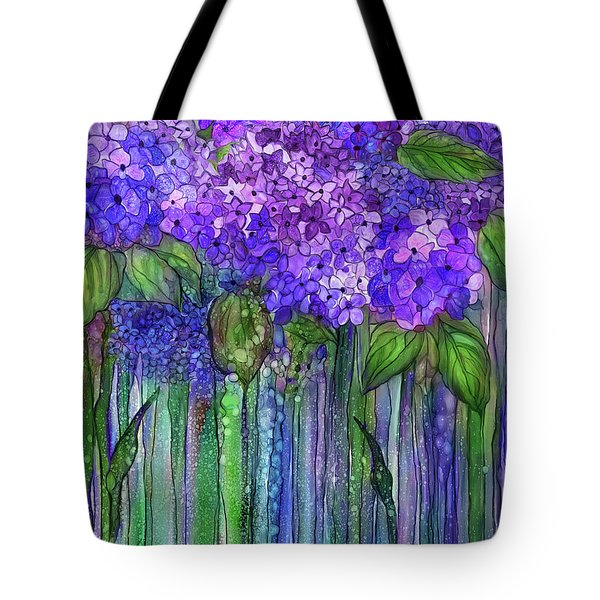 Tote Bag featuring the mixed media Hydrangea Bloomies 1 - Purple by Carol Cavalaris
