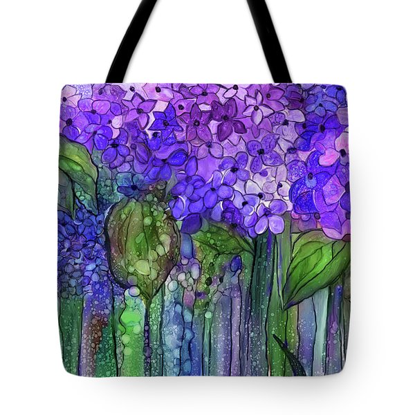 Tote Bag featuring the mixed media Hydrangea Bloomies 3 - Purple by Carol Cavalaris