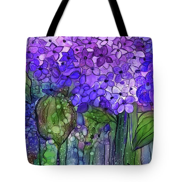 Tote Bag featuring the mixed media Hydrangea Bloomies 4 - Purple by Carol Cavalaris