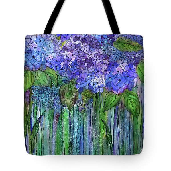 Tote Bag featuring the mixed media Hydrangea Bloomies 1 - Blue by Carol Cavalaris