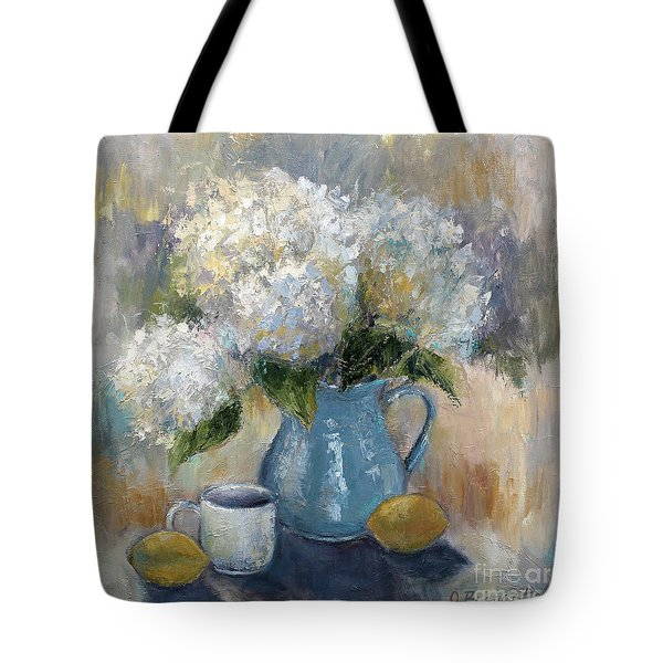 Tote Bag featuring the painting Hydrangea Morning by Jennifer Beaudet