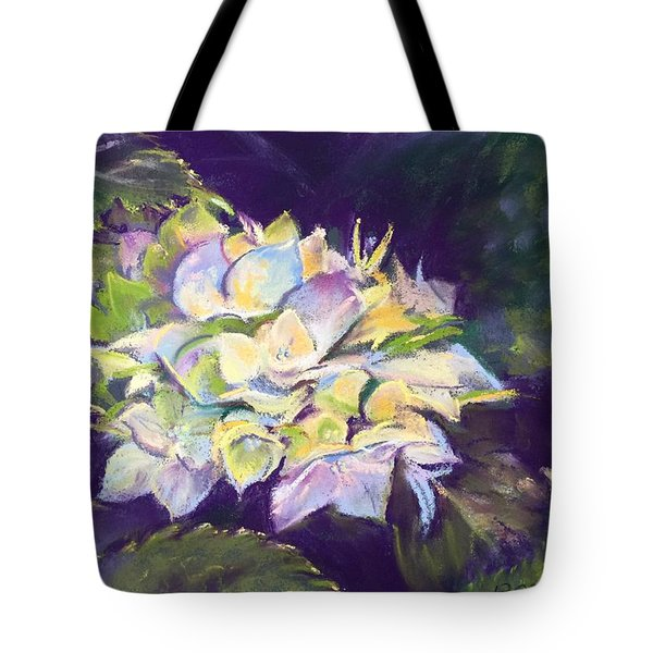 Tote Bag featuring the pastel Hydrangea by Rebecca Matthews