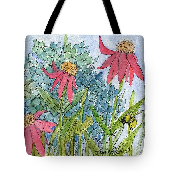 Hydrangea With Bee Tote Bag