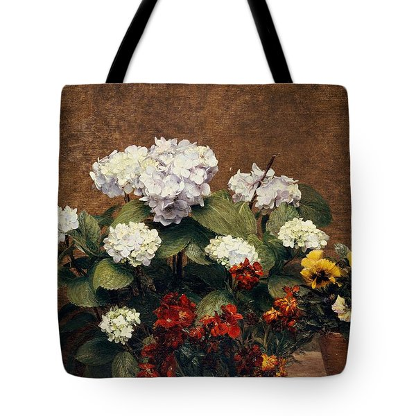 Hydrangeas And Wallflowers And Two Pots Of Pansies Tote Bag by Henri Jean Fantin-Latour