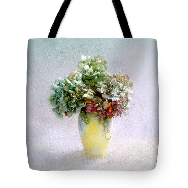 Hydrangeas In Autumn Still Life Tote Bag by Louise Kumpf