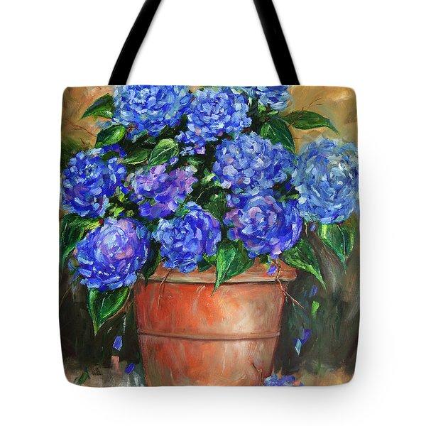 Hydrangeas In Pot Tote Bag