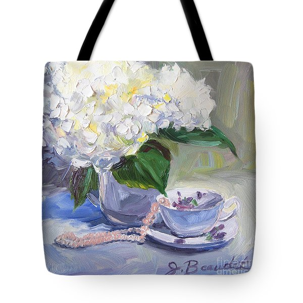 Tote Bag featuring the painting Hydrangeas With Pearls  by Jennifer Beaudet