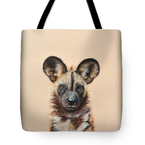 I Am A Wild Thing - African Painted Dog Tote Bag by Elena Kolotusha