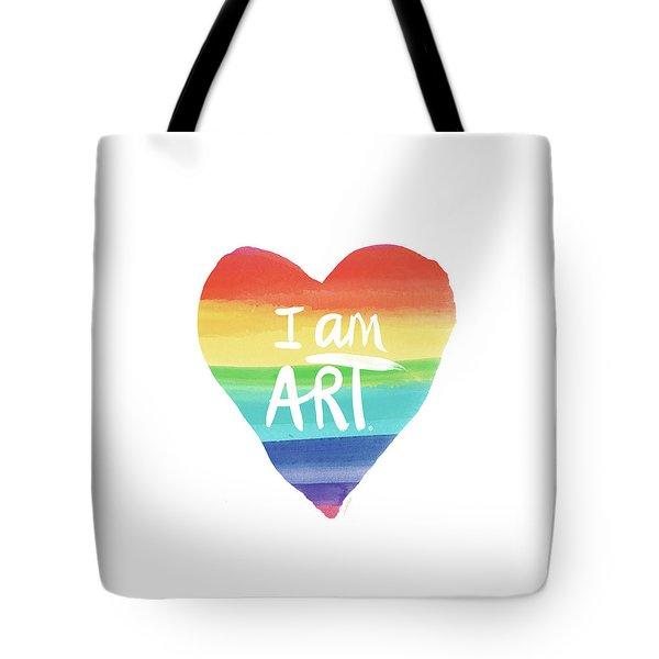 I Am Art Rainbow Heart- Art By Linda Woods Tote Bag