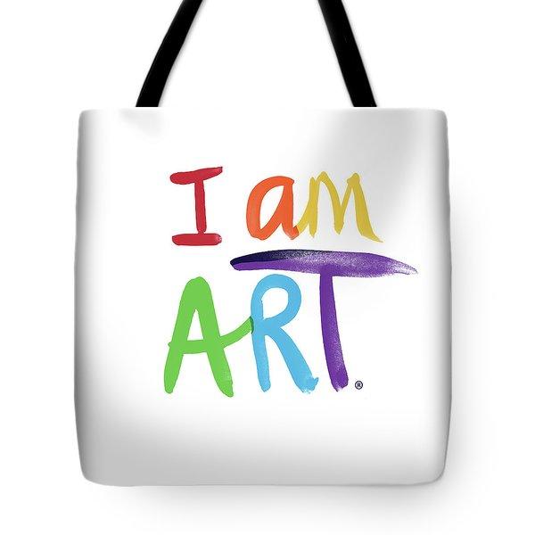 I Am Art Rainbow Script- Art By Linda Woods Tote Bag