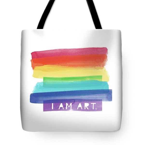 I Am Art Rainbow Stripe- Art By Linda Woods Tote Bag