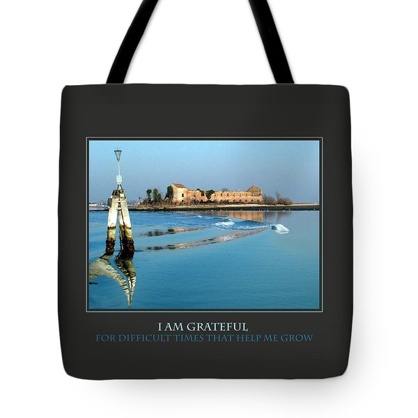 I Am Grateful For Difficult Times Tote Bag by Donna Corless