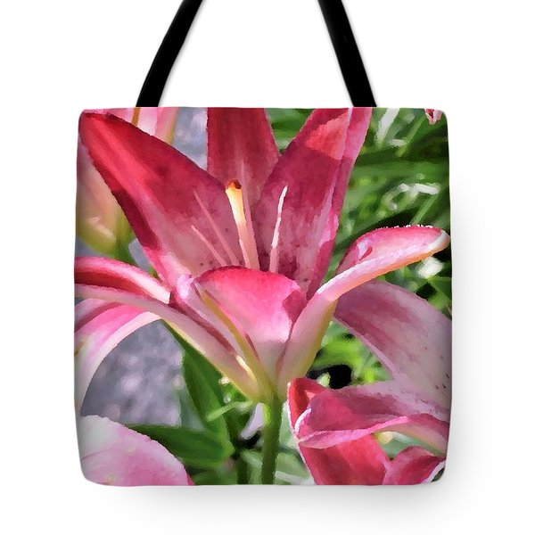 Exquisite Pink Lilies Tote Bag