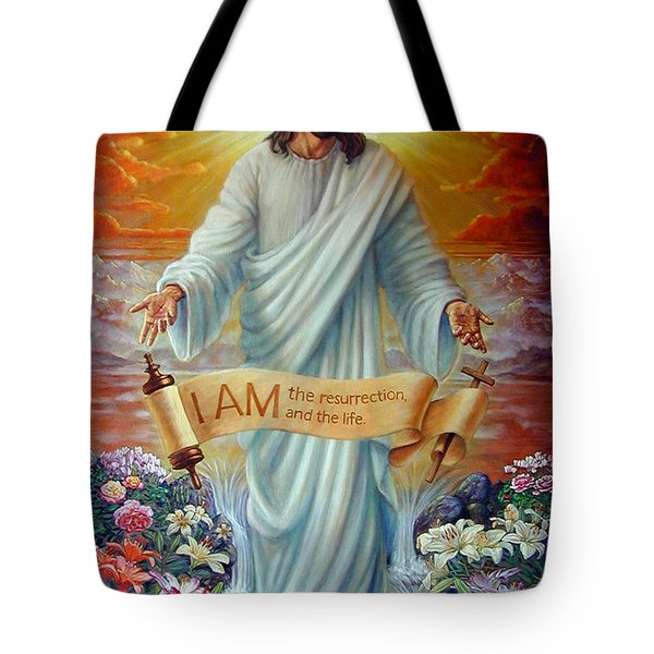 I Am The Resurrection Tote Bag by John Lautermilch