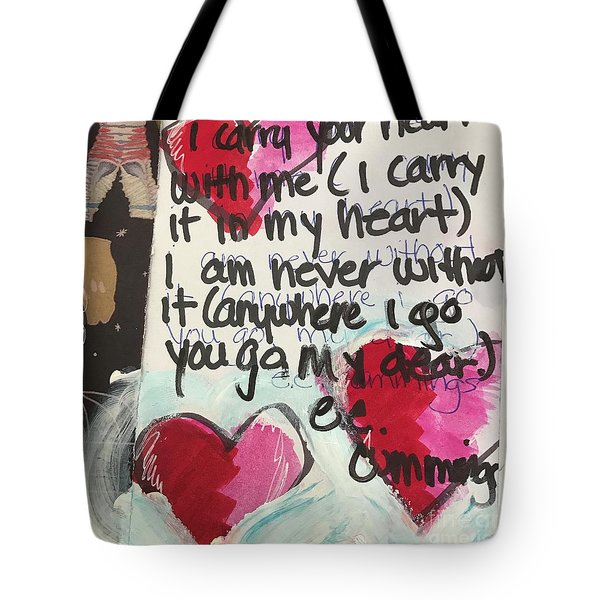 Tote Bag featuring the painting I Carry Your Heart In My Heart II by Kim Nelson