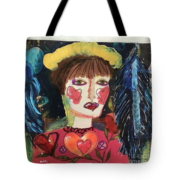 Tote Bag featuring the painting I Carry Your Heart In My Heart by Kim Nelson
