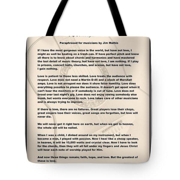 I Corinthians 13 Paraphrase Tote Bag