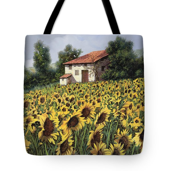 Tote Bag featuring the painting I Girasoli Nel Campo by Guido Borelli