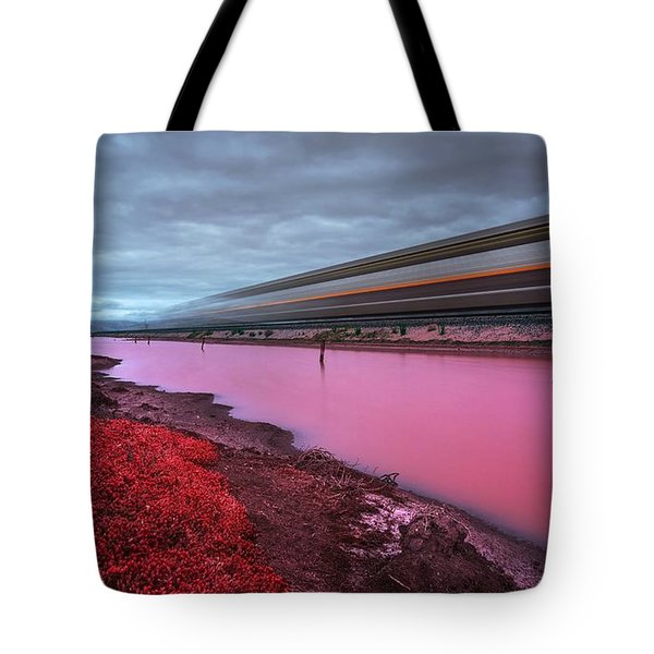 Tote Bag featuring the photograph I Hear The Ghost Train Rumbling Along The Tracks by Peter Thoeny