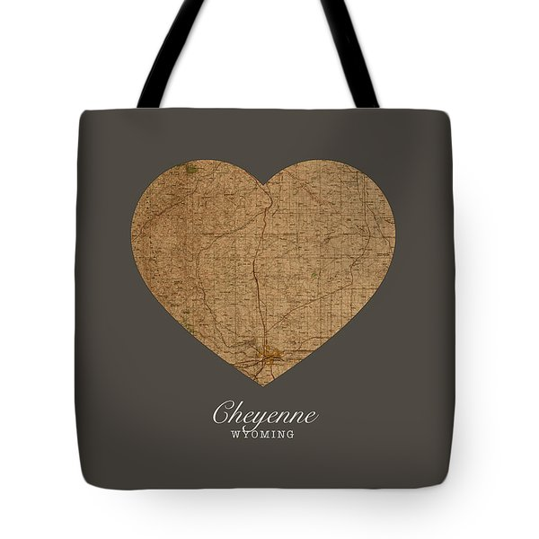 I Heart Cheyenne Wyoming Vintage City Street Map Americana Series No 024 Tote Bag