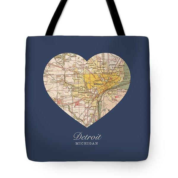 I Heart Detroit Michigan Vintage City Street Map Americana Series No 001 Tote Bag