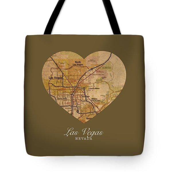 I Heart Las Vegas Nevada Vintage City Street Map Americana Series No 023 Tote Bag