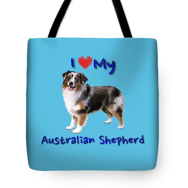 Tote Bag featuring the digital art I Heart My Australian Shepherd by Becky Herrera