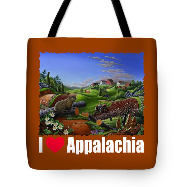 I Love Appalachia T Shirt - Spring Groundhog - Country Farm Landscape Tote Bag