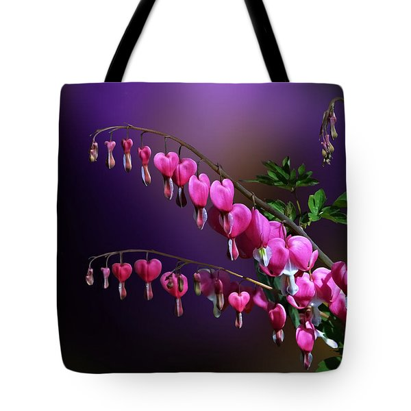 Tote Bag featuring the photograph I Love Bleeding Hearts by Judy  Johnson