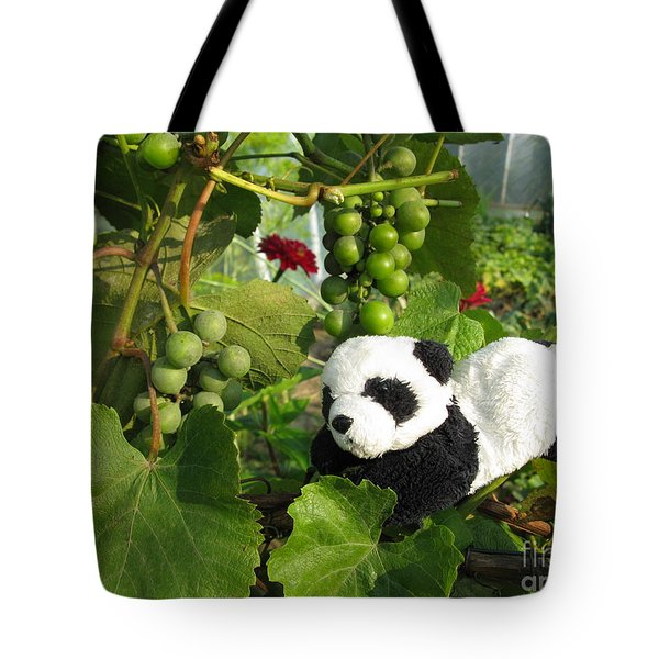 Tote Bag featuring the photograph I Love Grapes Says The Panda by Ausra Huntington nee Paulauskaite